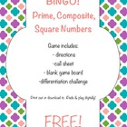 Prime, Composite, and Square Number Bingo