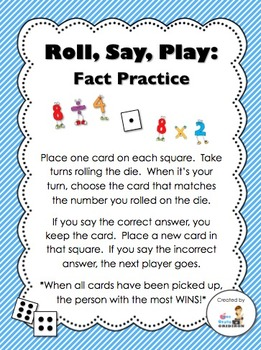 FREE Roll, Say, Play:  Multiplication/Division Fact Practi