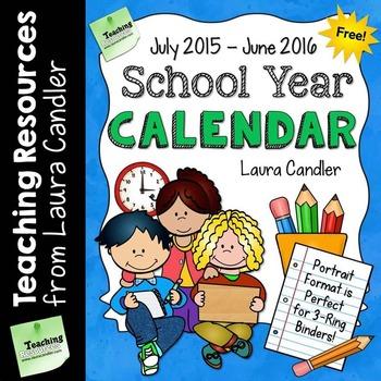 FREE School Year Calendar (2014 - 2015)