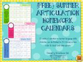 {FREE} Summer Speech Homework Calendars for Articulation