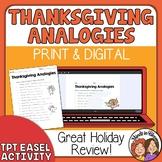 FREE Thanksgiving Analogies Worksheet