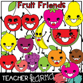 (FREE today) Fruit Friends Clipart * Happy Smiley Face