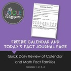 FREEBIE Calendar and Today's Fact Journal Page