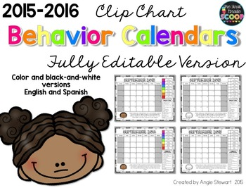 FULLY EDITABLE 2015-2016 Clip Chart Behavior Calendars in English and Spanish