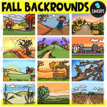 Fall Backgrounds Clip Art Bundle