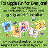 Fall Clippie Fun for Everyone! {counting, sight words, rhy