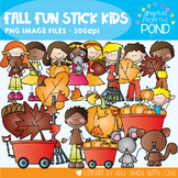 Fall Fun Stick Kids - Clipart for Teaching