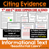 Nonfiction Text Using Claims and Details Fall {Common Core