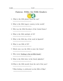 Famous Fifths for Fifth Graders