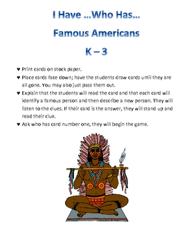Famous People of America: I have who has...