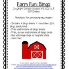 Farm Animal Bingo FREEBIE