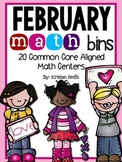 February Math Bins- 20 Common Core Aligned Math Centers