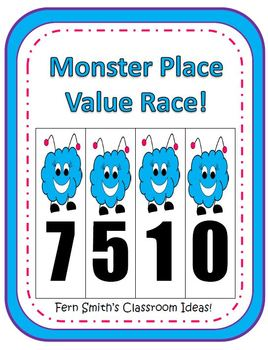 Place Value Race Center Game - Halloween Monster Version