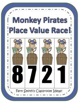 Place Value Race Center Game - Monkey Pirates Version