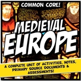 Feudal Europe or Medieval Europe Notes & Activity Bundle: