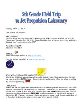 Field Trip Letter for JPL