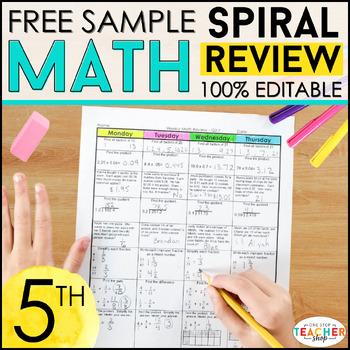 5th Grade Spiral Math Homework {Common Core} - 4 Weeks FREE