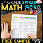 5th Grade Spiral Math Homework {Common Core} - 4 Weeks FREE