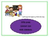 Fifth Grade Common Core Math Standards