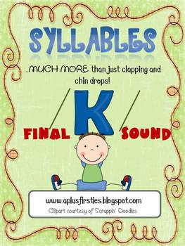 Final K Sound Phonics Activity