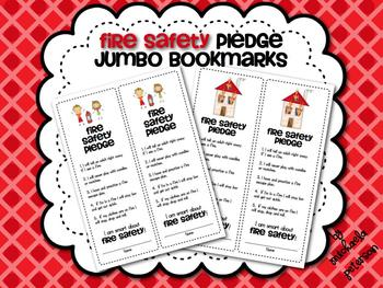 Fire Safety Pledge {Jumbo Bookmarks}