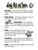 First Day of School Activity Candy Pick and Share