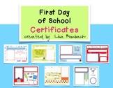 First Day of School Keepsake Certificates