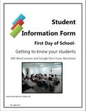 First Day of School- Student Information Form and Teaching