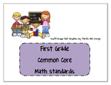 First Grade Common Core Math Standards
