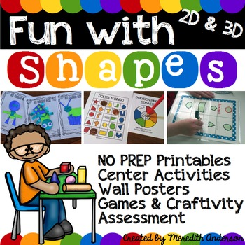 Geometry for 1st Grade MEGA Unit: Fun with Shapes! 2D and 3D, Common Core Math