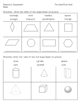First Grade Geometry assessment