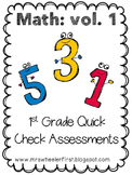 First Grade Math Exit Slips Volume 1