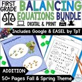 First Grade Math Spring {Frog} Balancing Equations-Additio