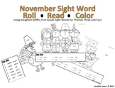 First Grade Thanksgiving Sight Word Roll and Color