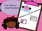 First Week of School Procedures- Editable PowerPoint