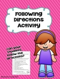 Following Directions Activity