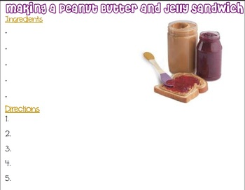 Following Directions Peanut Butter and Jelly