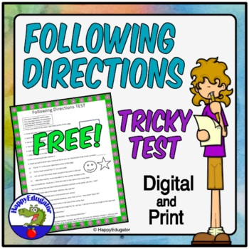 Following Directions TEST -  A Tricky Following Directions Lesson