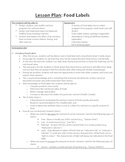 Food Labels: Lesson Plan and Resources