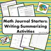 Math Journal Starters: Writing/Summarizing Activities/Note-Taking