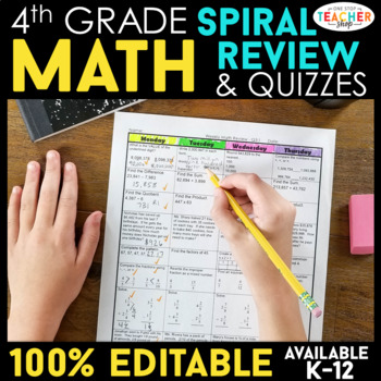 4th Grade Spiral Math Homework {Common Core} - ENTIRE YEAR!!! 100% Editable