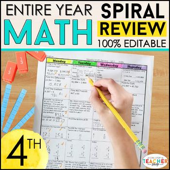 4th Grade Spiral Math Homework {Common Core} - ENTIRE YEAR!!! 100% Editable