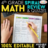 Fourth Grade Math Homework ENTIRE YEAR } EDITABLE