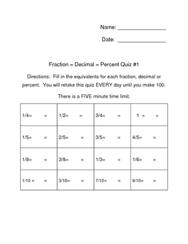 Fraction Decimal Percent Quizzes