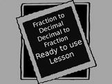Fraction to decimal conceptual understanding Powerpoint