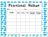 Fractional Names  - Fraction Activity (Common Core - Math 2.G.3)