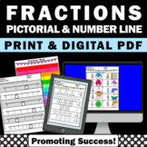 Fractions on a Number Line No Prep Worksheets Packet 3rd G