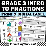 Fractions on a Number Line No Prep Worksheets Packet 3rd G