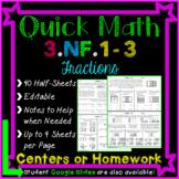 Fractions Homework: 3rd Grade 3.NF.1, 3.NF.2, 3.NF.3