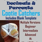 Fractions to Decimals & Percents: Math Cootie Catchers/ Fortune Tellers: